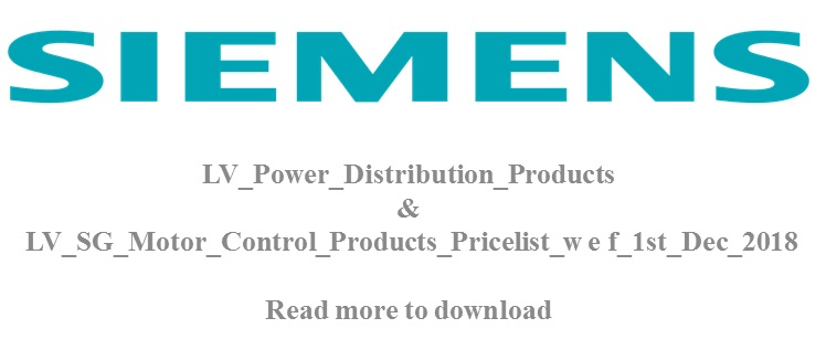 SIEMENS PRICE LIST REVISED  01/12/2018