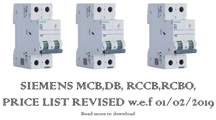 SIEMENS MCB PRICE LIST REVISED  01/02/2019